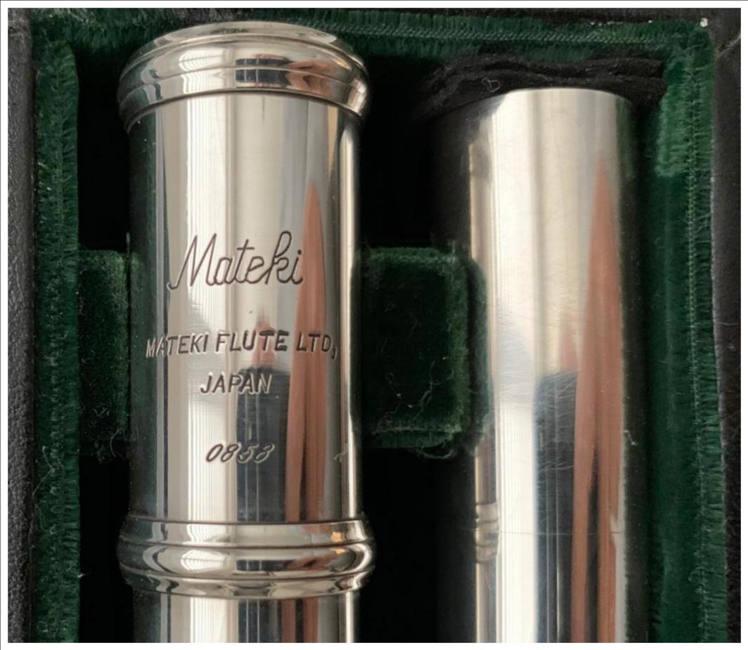 Mateki M0-061 Solid Silver Flute, 18K Riser, C-Foot